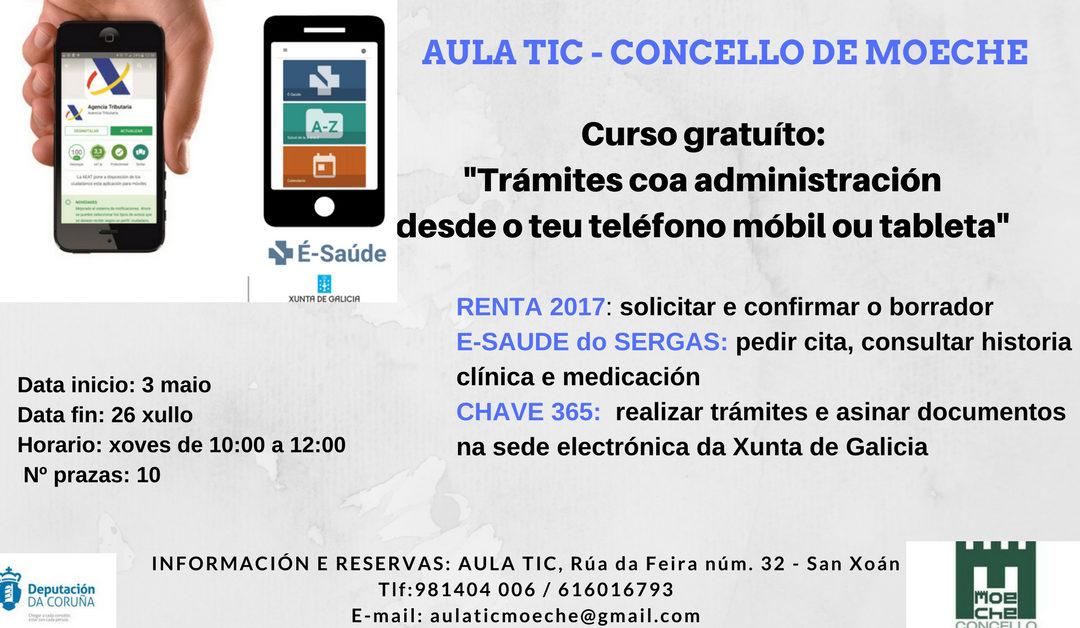 """Novo curso na Aula TIC de Moeche """"Trámites coa administración desde o teléfono móbil ou tableta"""""""