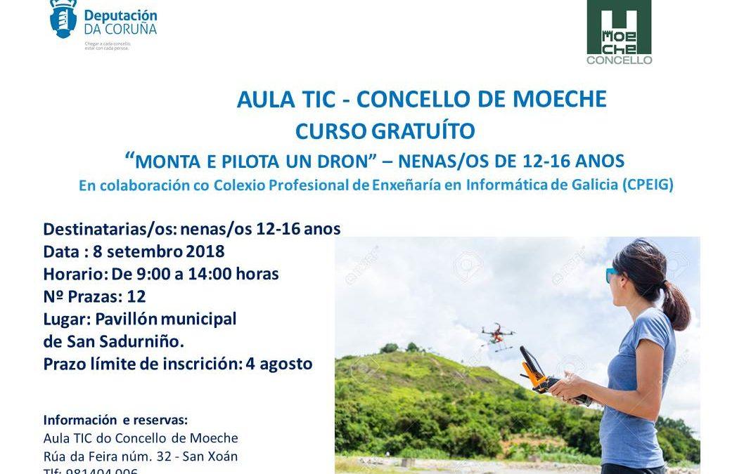 A Aula TIC de Moeche ofrecerá en setembro un obradoiro de montaxe e manexo de drons
