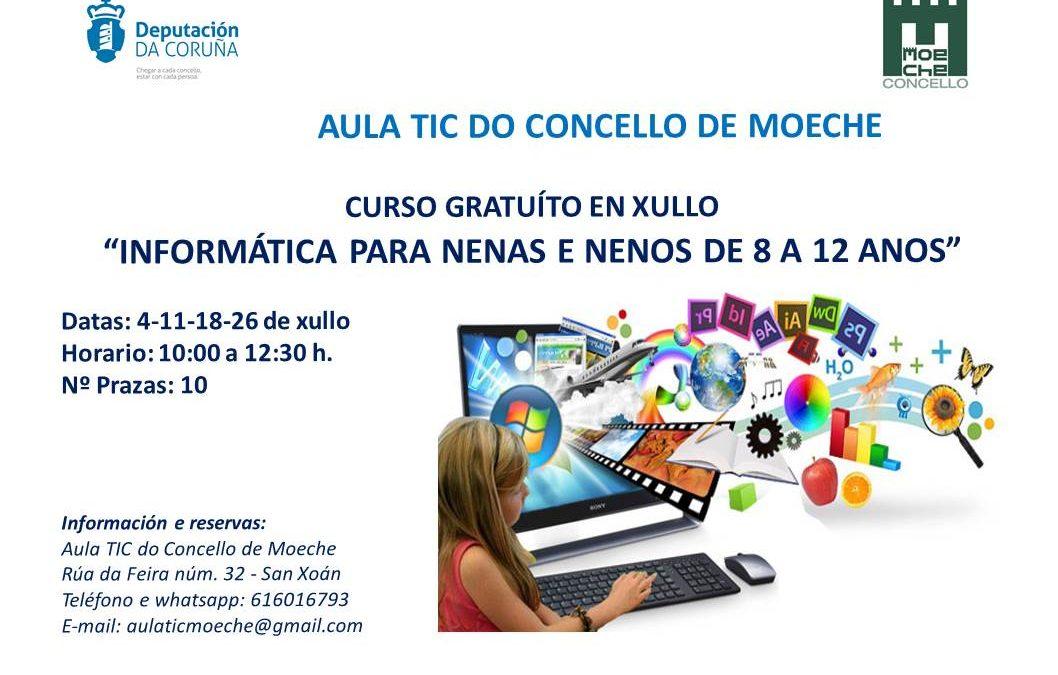 """Curso gratuíto en xullo """"Informática para nenas e nenos de 8 a 12 anos"""""""