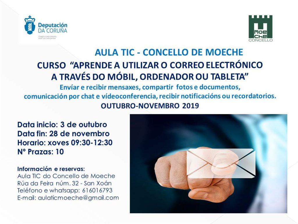 A Aula TIC de Moeche ofrecerá en outubro un curso para aprender a utilizar o correo electrónico